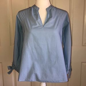 Madewell Blue Striped Popover Blouse Tie Sleeves
